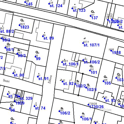 Katastrální mapa Parcela 106/1 na katastrálním území Jiřetín pod Jedlovou