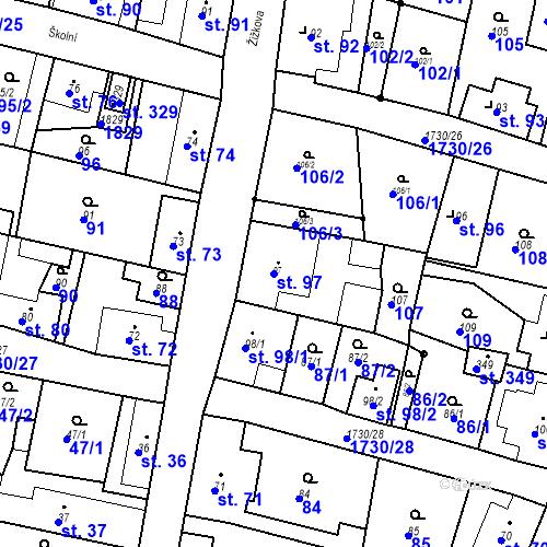 Katastrální mapa Parcela 97 na katastrálním území Jiřetín pod Jedlovou