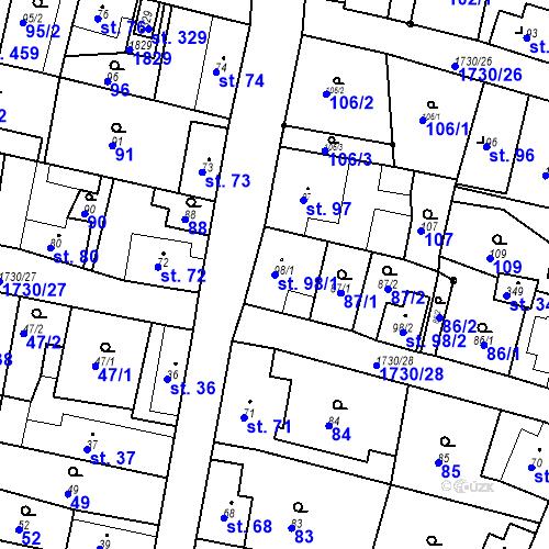 Katastrální mapa Parcela 98/1 na katastrálním území Jiřetín pod Jedlovou