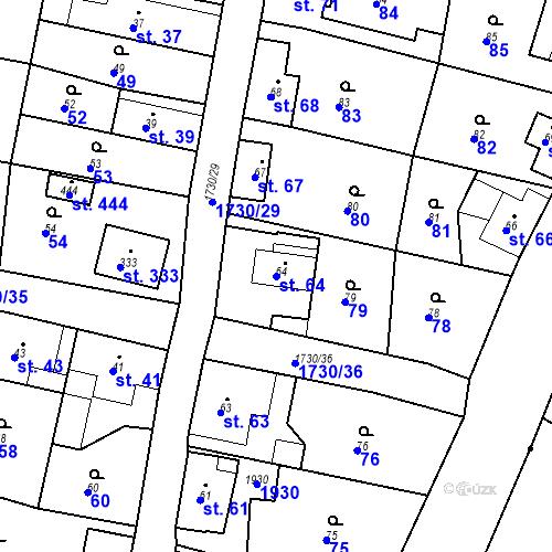 Katastrální mapa Parcela 64 na katastrálním území Jiřetín pod Jedlovou