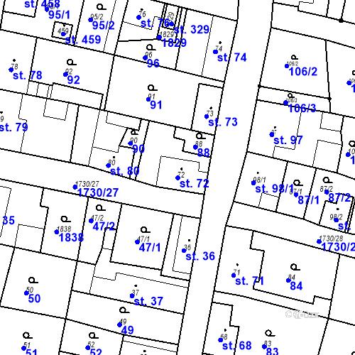 Katastrální mapa Parcela 72 na katastrálním území Jiřetín pod Jedlovou