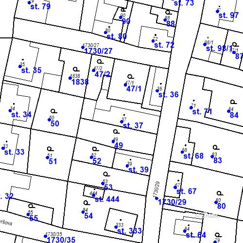 Katastrální mapa Parcela 37 na katastrálním území Jiřetín pod Jedlovou