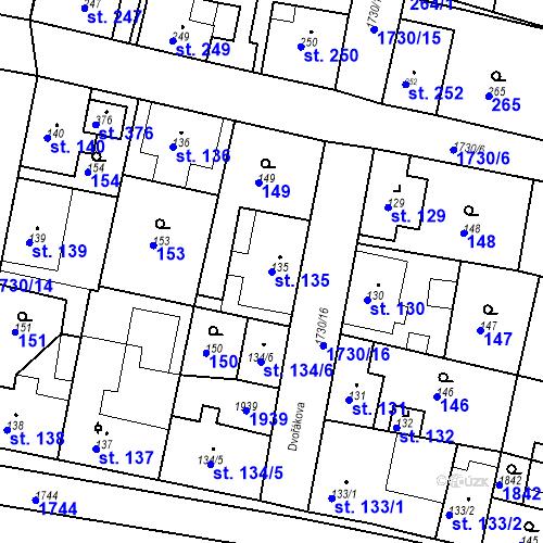 Katastrální mapa Parcela 135 na katastrálním území Jiřetín pod Jedlovou