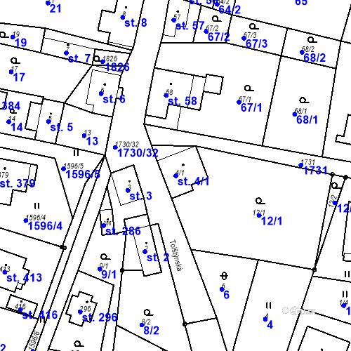 Katastrální mapa Parcela 4/1 na katastrálním území Jiřetín pod Jedlovou