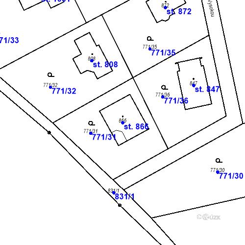 Katastrální mapa Parcela 866 na katastrálním území Mukařov u Říčan