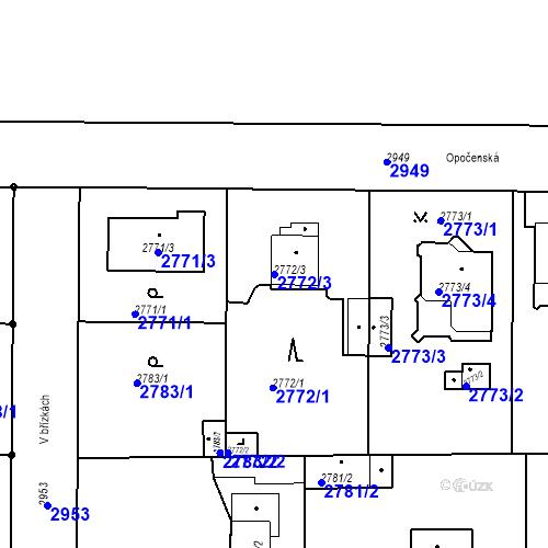 Katastrální mapa Parcela 2772/3 na katastrálním území Stará Boleslav
