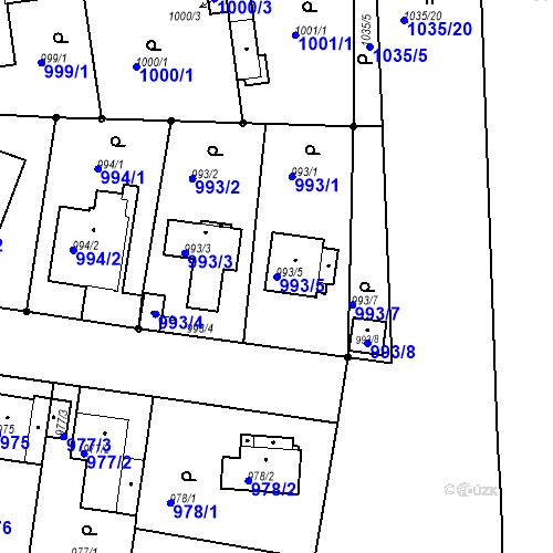 Katastrální mapa Parcela 993/5 na katastrálním území Stará Boleslav
