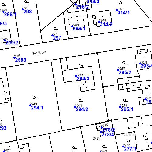 Katastrální mapa Parcela 294/3 na katastrálním území Stará Boleslav