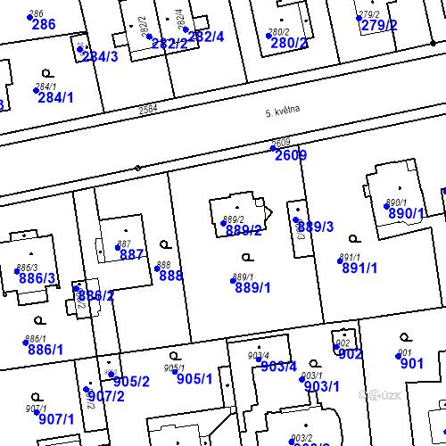 Katastrální mapa Parcela 889/2 na katastrálním území Stará Boleslav