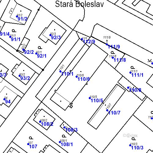 Katastrální mapa Parcela 110/6 na katastrálním území Stará Boleslav