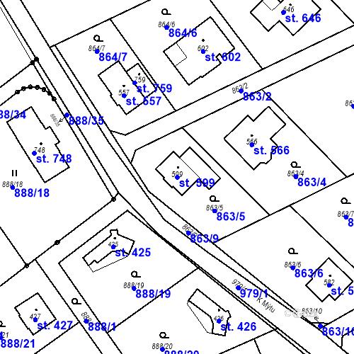 Katastrální mapa Parcela 599 na katastrálním území Tehovec