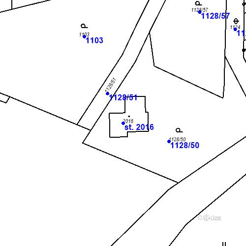 Katastrální mapa Parcela 2016 na katastrálním území Mnichovice u Říčan