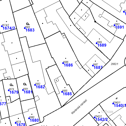 Katastrální mapa Parcela 1686 na katastrálním území Stará Boleslav