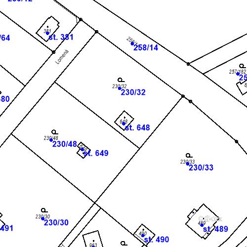 Katastrální mapa Parcela 648 na katastrálním území Lštění