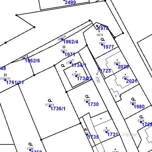 Katastrální mapa Parcela 1734/2 na katastrálním území České Velenice