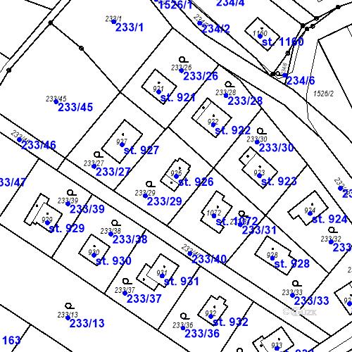 Katastrální mapa Parcela 926 na katastrálním území Lštění
