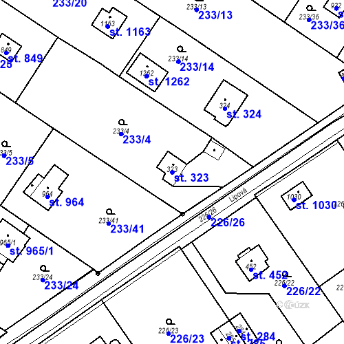 Katastrální mapa Parcela 323 na katastrálním území Lštění