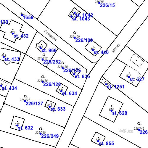 Katastrální mapa Parcela 635 na katastrálním území Lštění