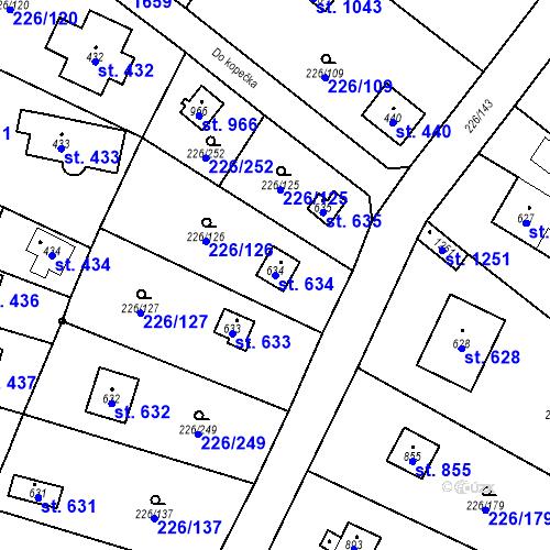Katastrální mapa Parcela 634 na katastrálním území Lštění