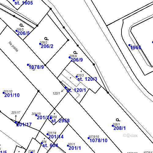 Katastrální mapa Parcela 120/3 na katastrálním území Brandýs nad Labem