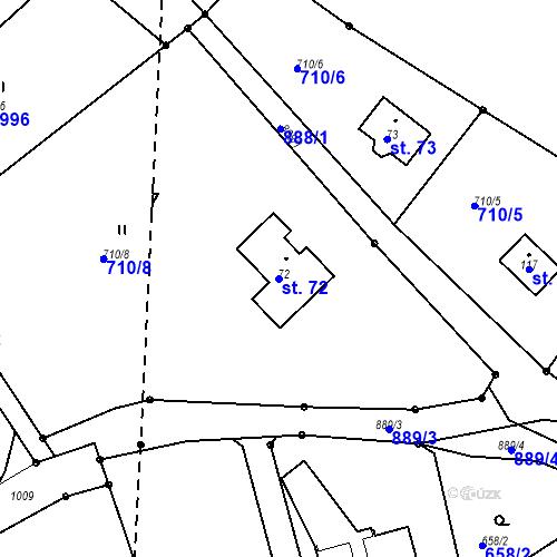 Katastrální mapa Parcela 72 na katastrálním území Roubíčkova Lhota