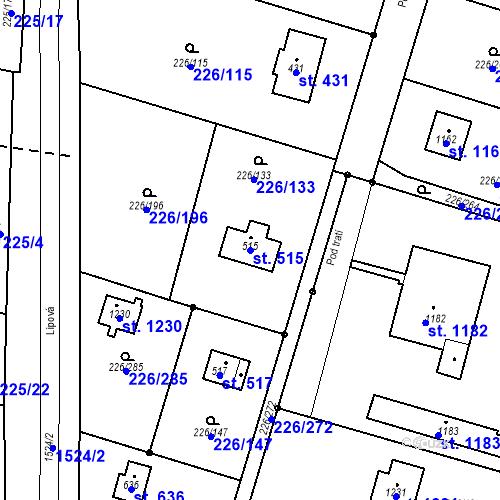Katastrální mapa Parcela 515 na katastrálním území Lštění