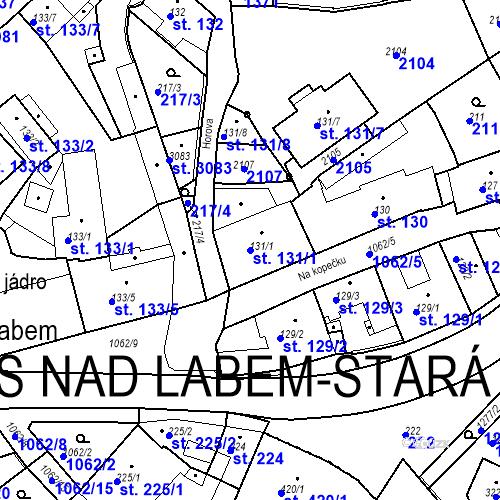Katastrální mapa Parcela 131/1 na katastrálním území Brandýs nad Labem