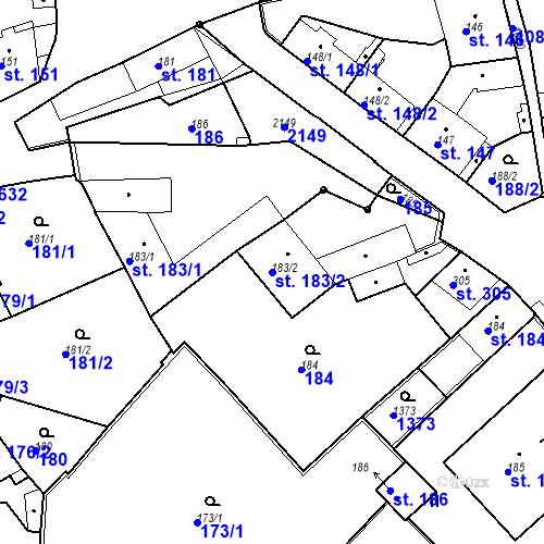 Katastrální mapa Parcela 183/2 na katastrálním území Brandýs nad Labem
