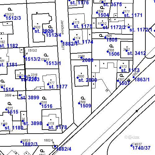 Katastrální mapa Parcela 2800 na katastrálním území Brandýs nad Labem