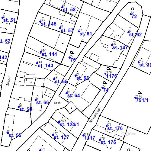 Katastrální mapa Parcela 63 na katastrálním území Byšice