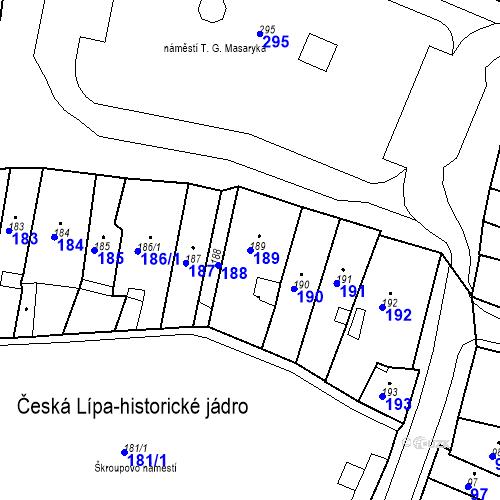Katastrální mapa Parcela 189 na katastrálním území Česká Lípa