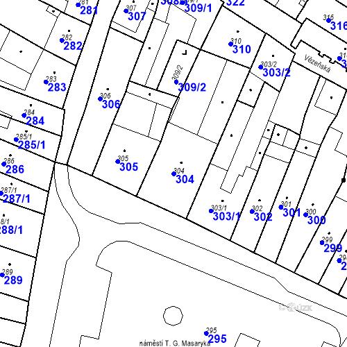 Katastrální mapa Parcela 304 na katastrálním území Česká Lípa