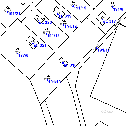Katastrální mapa Parcela 316 na katastrálním území Dolní Lomnice u Kunic