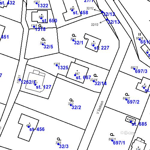 Katastrální mapa Parcela 667 na katastrálním území Kunice u Říčan