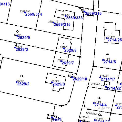 Katastrální mapa Parcela 2629/7 na katastrálním území Benešov u Prahy