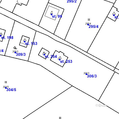 Katastrální mapa Parcela 253 na katastrálním území Lojovice