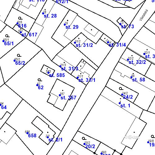Katastrální mapa Parcela 31/1 na katastrálním území Chrást u Tišic
