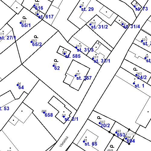 Katastrální mapa Parcela 357 na katastrálním území Chrást u Tišic