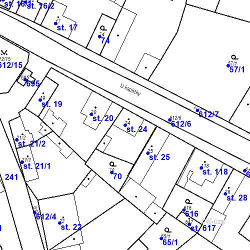 Katastrální mapa Parcela 24 na katastrálním území Chrást u Tišic