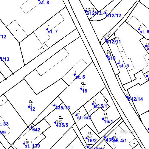 Katastrální mapa Parcela 6 na katastrálním území Chrást u Tišic