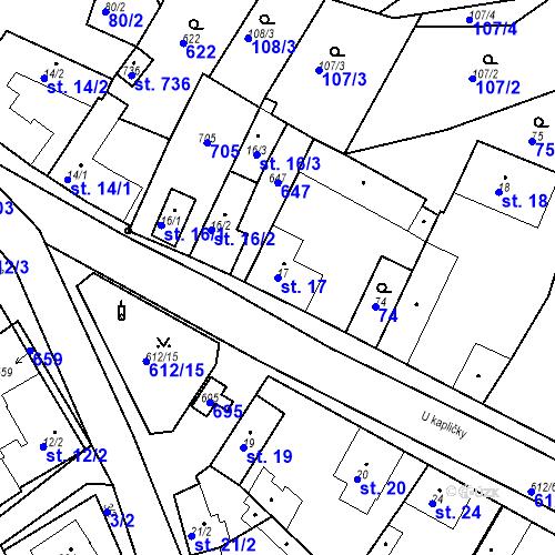 Katastrální mapa Parcela 17 na katastrálním území Chrást u Tišic