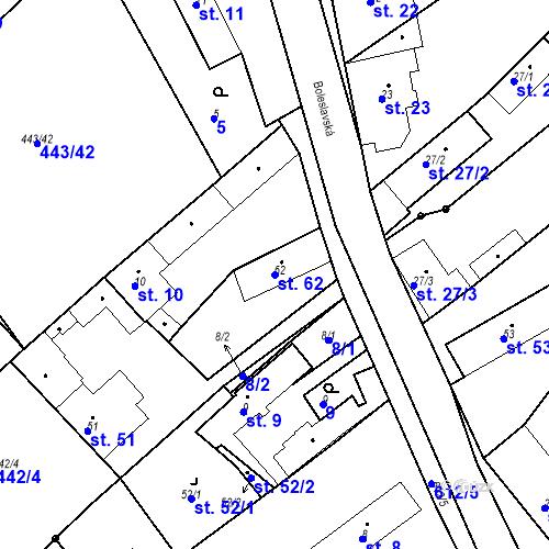 Katastrální mapa Parcela 62 na katastrálním území Chrást u Tišic