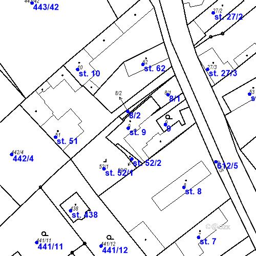 Katastrální mapa Parcela 9 na katastrálním území Chrást u Tišic