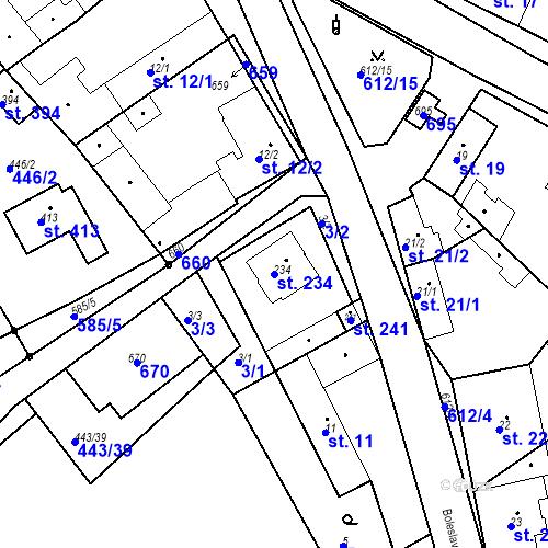 Katastrální mapa Parcela 234 na katastrálním území Chrást u Tišic