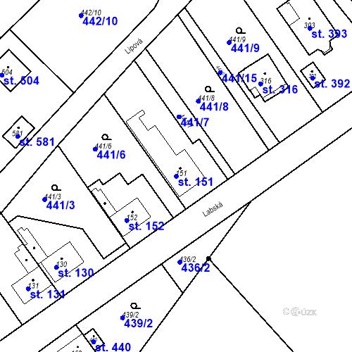 Katastrální mapa Parcela 151 na katastrálním území Chrást u Tišic