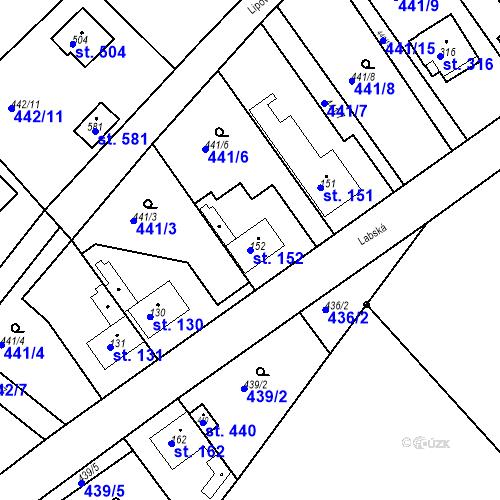 Katastrální mapa Parcela 152 na katastrálním území Chrást u Tišic