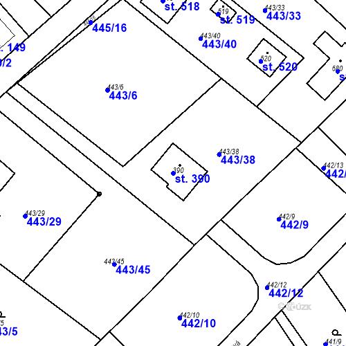Katastrální mapa Parcela 390 na katastrálním území Chrást u Tišic