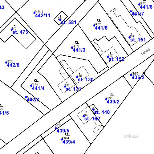 Katastrální mapa Parcela 130 na katastrálním území Chrást u Tišic