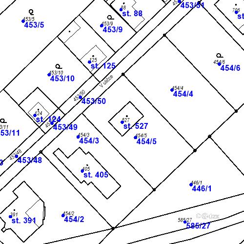 Katastrální mapa Parcela 527 na katastrálním území Chrást u Tišic