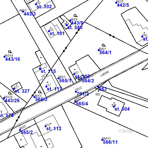 Katastrální mapa Parcela 107 na katastrálním území Kozly u Tišic